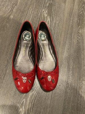 Philipp Plein Patent Leather Ballerinas red