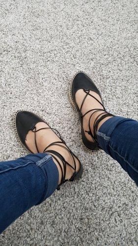 Ballerinas Schnürschuhe Leder Zara schwarz Größe 38
