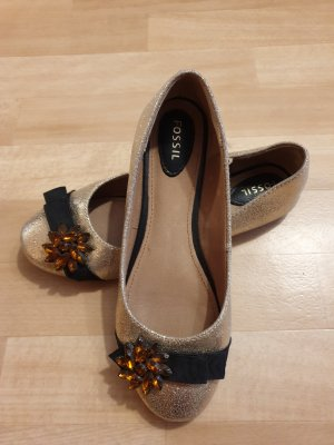 Fossil Patent Leather Ballerinas black-gold-colored
