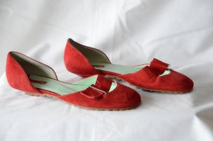 Le Pancaldine Slingback Ballerinas dark red leather