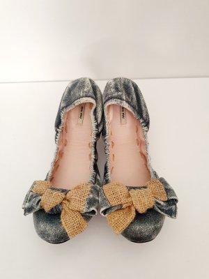 Miu Miu Foldable Ballet Flats grey-slate-gray leather