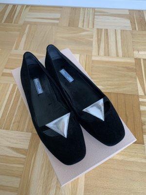 Prada Ballerines à lacets noir