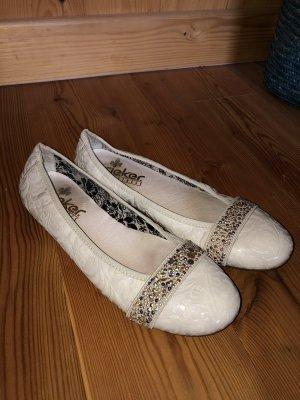 Rieker Ballerina di pelle verniciata crema-bianco