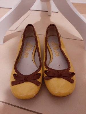 s.Oliver Patent Leather Ballerinas camel-pale yellow