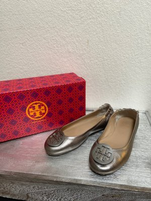 Tory Burch Foldable Ballet Flats grey-silver-colored leather