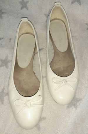Tamaris Ballerina di pelle verniciata bianco
