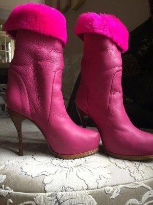 Stivaletto con plateau rosa Pelle