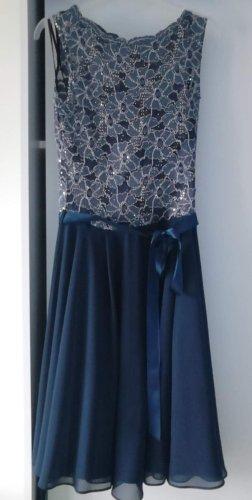 Robe ballon bleu acier lin