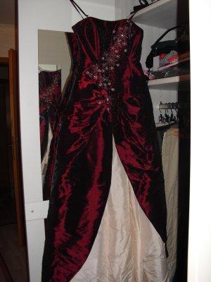 Ballkleid Abendkleid abi weinrot creme xs steine blüten