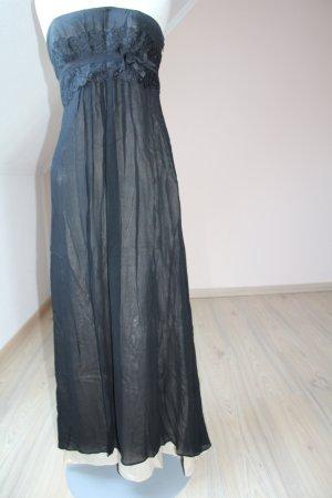 Ballkleid Abendkleid Corsagenkleid Seide schwarz beige Gr. UK 10 EUR 38 S Bandeaukleid gothic Spitze Perlenstickerei