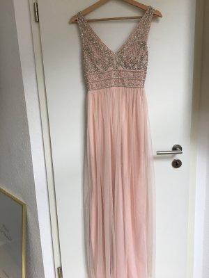 Ballkleid / Abendkleid rosa Tüll mit Perlen