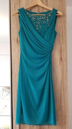 Ballkleid Abschlusskleid Partykleid Türkis-Grün mit Falten und Glitzersteinen