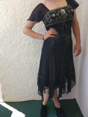 Heine Suknia balowa czarny-złoto Tkanina z mieszanych włókien