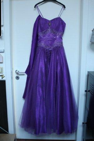Suknia balowa szaro-fioletowy-ciemny fiolet