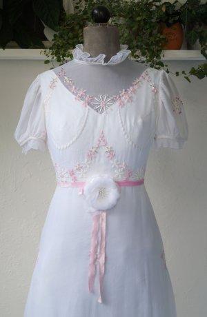 VINTAGE  70er Vestido de baile blanco-rosa