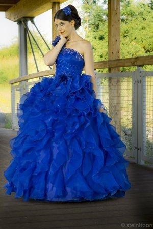 Robe de bal bleu polyester