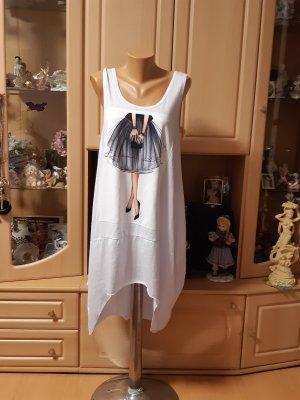 Made in Italy Sukienka z rękawem balonowym biały-czarny Bawełna
