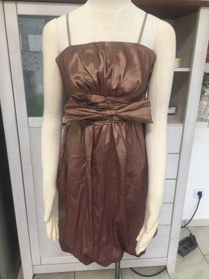 JK2 Sukienka z rękawem balonowym jasnobrązowy-brąz