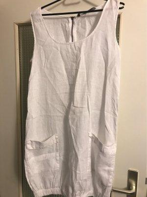 Zara Basic Sukienka z rękawem balonowym biały