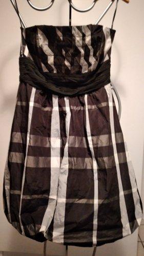Sukienka z rękawem balonowym biały-czarny