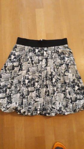 Zara Basic Balonowa spódniczka biały-czarny Bawełna