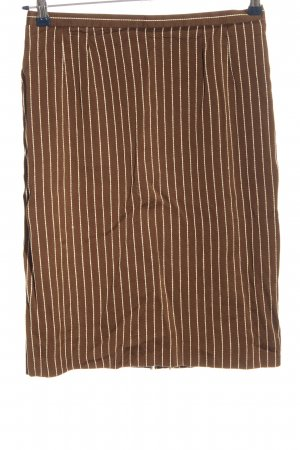 Bally Pencil Skirt brown-natural white striped pattern casual look