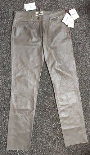 Bally Leather Trousers grey brown-sand brown leather