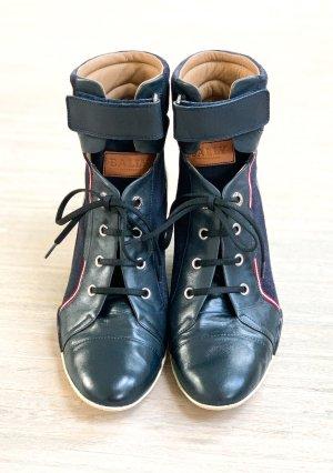 Bally Platform Booties dark blue leather