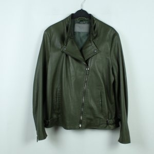 Bally Leather Jacket dark green-forest green leather