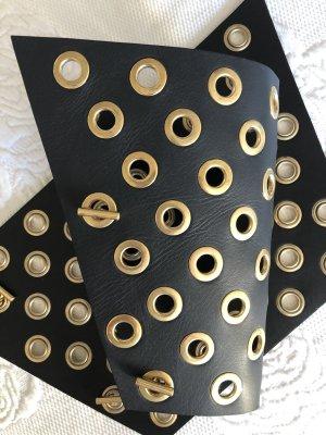 Balmain Bracelet en cuir noir-doré