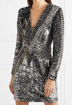 BALMAIN Embellished tulle and Satin dress