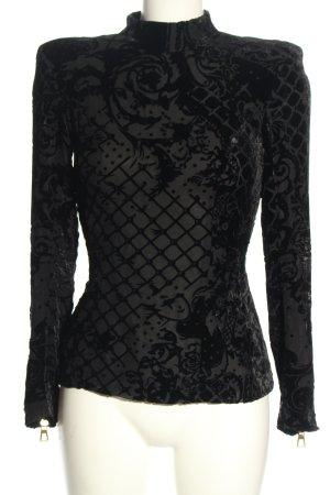Balmain for H&M Langarm-Bluse schwarz Motivdruck Casual-Look
