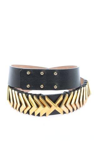 Balmain for H&M Skórzany pasek czarny-złoto W stylu casual