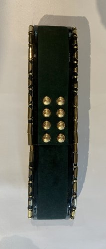 Balmain Cintura di pelle verde bosco Pelle