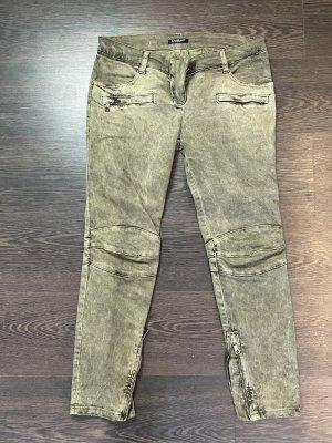 Balmain Pantalon 7/8 gris vert