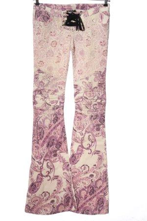 Balmain Jeansschlaghose pink-weiß Allover-Druck Casual-Look
