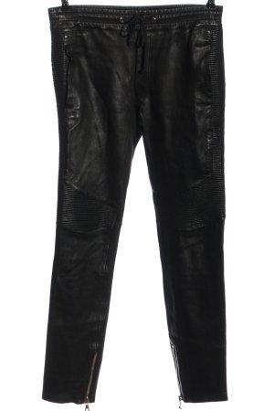 Balmain Pantalón de cuero negro look casual