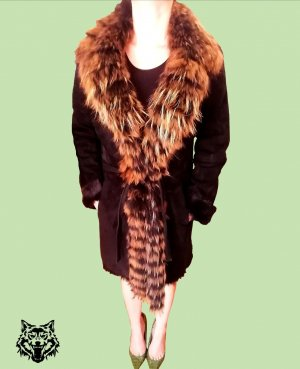 Balmain Abrigo de piel marrón-coñac