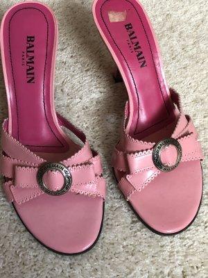 Balmain Heel Pantolettes pink leather