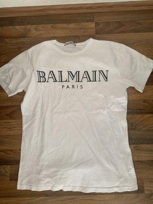 Balmain T-shirt blanc-noir tissu mixte