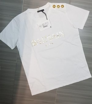Balmain T-shirt blanc-doré coton