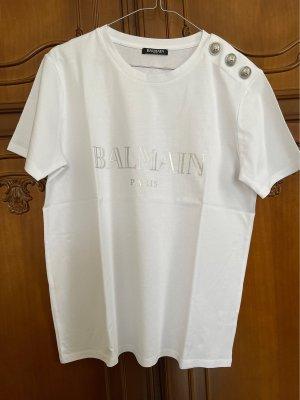 Balmain T-shirt zilver-wit