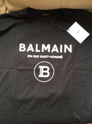 Balmain T-shirt noir-blanc coton