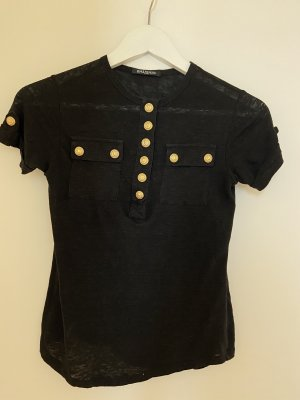 Balmain Shirt basique noir-doré