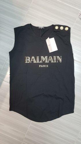 Balmain Blouse sans manche noir-doré coton