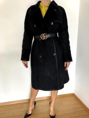 Balmain Manteau en fausse fourrure noir polyester