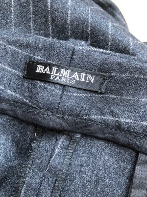 Balmain Woolen Trousers anthracite-oatmeal