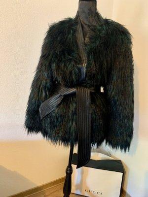 Balmain for H&M Veste en fourrure noir-vert foncé