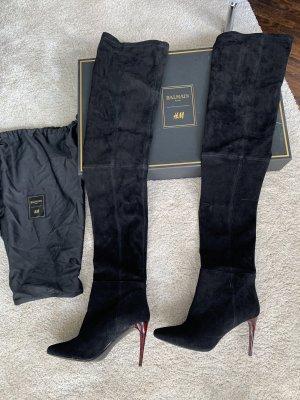 Balmain X H&M Overknee Stiletto Stiefel schwarz