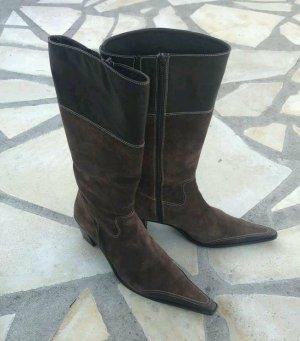 Stivale western marrone scuro-marrone-nero Pelle